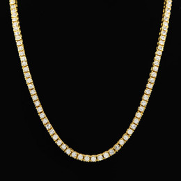 Wholesale Cubic Zirconia Tennis Necklaces - Gold Color 1 Row Simulated Diamonds Lab Rhinestone Iced Out Long Chain Men's Hip Hop Tennis Necklace