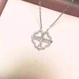 Wholesale Sterling Heart Love - New Valentine's day gifts womens 925 Sterling Silver jewelry lucky clover necklace girls love heart Necklaces Pendants Women Accessories