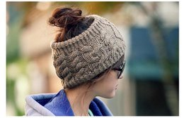 Wholesale Twist Knit Headband - 2016 South Korean fashion street men women autumn winter twist headband knitting hat empty hat Free Shipping