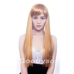 Wholesale Straight Manufacturer Hair - Ladies long blonde wig with a bang stright hair wig for women fashion hair style hot wig manufacturer 1pc Lot Free Shipping 3361