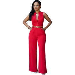 Wholesale White Plus Size Sleeveless Jumpsuit - Brand Womens Rompers V-Neck Jumpsuit 2017 Summer Sleeveless Bodysuit Long Playsuits Casual Clothing 2XL Plus Size Overalls Mujer