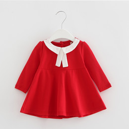 Wholesale Girls Long Sleeved Lace Dress - Wholesale- New 2017 Autumn Kids clothes Girls long-sleeved t-shirt Girls baby dress kids clothing dress chiffon top children's Lace flower