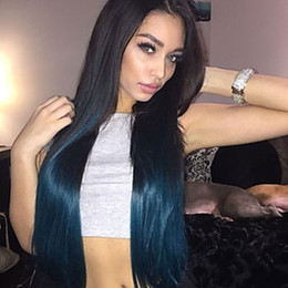Wholesale Two Toned Blue Lace Wig - Cosplay Two Tones Ombre Blue Green Long Silky Straight Synthetic Wigs Heat Resistant Glueless Synthetic Lace Front Wigs for Black Women