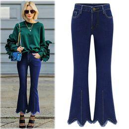 Wholesale Plus Size Pants For Women - Wholesale- 2017 Ankle-length Flare Denim Pants Women Irregular Tassels Plus Size 5XL High Waist Jeans Pant for Ladies #170389