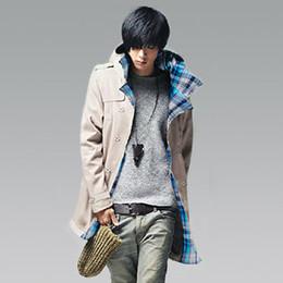 модные длинные пальто мужчины Скидка Оптовая продажа-мужская одежда осень с капюшоном модные повседневные пальто тонкий средней длины мужской тренч