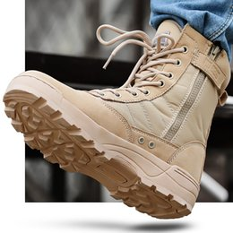 Wholesale Tan Tactical Lights - 2017 Spring and Autumn Men's Fashion fashion men's shoes Men's boot outdoor combat tactics climbing boots land war desert boots male Super