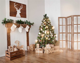 Wholesale painting interior room - Interior Room White Wall Winter Holiday Photo Studio Background Gift Boxes Christmas Tree with Sparkling Bulbs Photography Backdrops Indoor