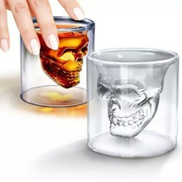 Wholesale Heat Resistant Glass Cups - Creative Clear Wine Glasses Double Layer Skull Head High Borosilicate Glass Tumbler Personality Heat Resistant Cup For Bar KTV 3 3am B