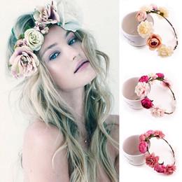 Wholesale Elastic Wedding Headband - 5Pcs Women Rose Flower Crown Hairbands Bridal Wedding Jewelry Headbands Wreath Elastic Headdress Hair Accessories 5 Colors