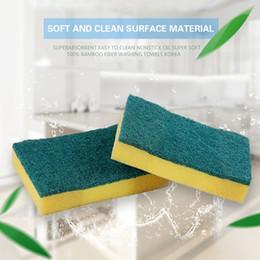 Wholesale Scrub Sponge Pad - 2 color wholesale strong decontamination soft hand-fighting kitchen clean sponge scrub bowl brush pot scouring pad