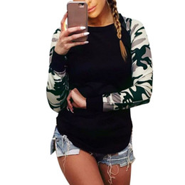 Wholesale Women Camouflage Fashion Shirts - Wholesale- Fashion Women Camouflage T-Shirts Crew-Neck Long Sleeve Casual Tops Tees Woman Street Wear CY1