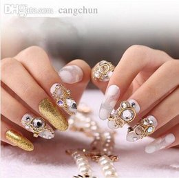 Wholesale Bride Nail Sticker - Wholesale-faux ongles fake nails with glue bride luxury new nail sticker for sale, with diamond false nails decorated products nail tips