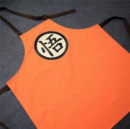 Wholesale Chef Waist Aprons - 75*71CM 100% cotton cartoon Dragon Ball apron sleeveless aprons adults kitchen orange baking apron men women ooking chef gown
