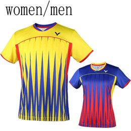 badminton jersey men Coupons - national uniform Malaysia VICTOR badminton wear t-shirts men women clothes,polyeater breathable table tennis jersey short sleeve T-shirt