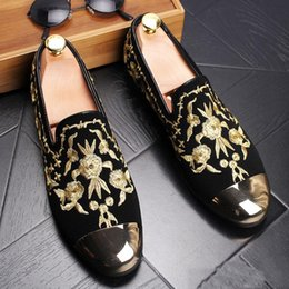 Wholesale Driving Mocassins - New 2017 mens fashion velvet embroidery loafers pointed toe slip on flat casual shoes driving mocassins Red Gold shoes