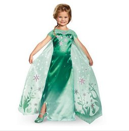 Wholesale Wholesale Polyester Maxi Dresses - Gilrs frozen princess dress starfish embroidery lace cape satin long dress ana elsa pricness maxi dress kids cosplay clothing party