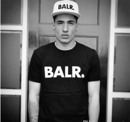Wholesale polyester cotton shirt - Balr T Shirts street tide casual short-sleeved round neck loose short-sleeved cotton men's personality men's T-shirt Free Shipping