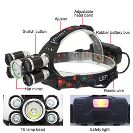 Wholesale Headlight Cable - KC Fire 5 LED Headlight 1x T6 + 4x XPE LED USB Rechargeable Headlamp Flashlight for Outdoor Hunting Fishing Bike Light with USB Cable HL0030