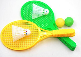 Wholesale Boy Bedding Sports - Wholesale- 1 pair Novelty Child Dual Badminton Tennis Racket Baby Sports Parent-Child Sports Bed Toy Educational Toys GYH