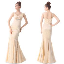 Wholesale Cake Sexy Model - Sell like hot cakes!Women's V-neck Beige Fishtail Long Bridesmaid Evening Dress