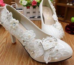 Argentina 8CM talones zapatos de boda de encaje blanco mujer todo por flores de encaje dulce hecho a mano fiesta femenina baile proms zapatos de vestir DG192 envío rápido Suministro