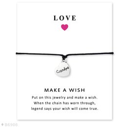 Wholesale Gifts For Grandpa - Silver Tone Grandma Heart Grandpa Disc Charm Bracelets & Bangles Gifts For Women Girls Adjustable Friendship Statement Jewelry With Card