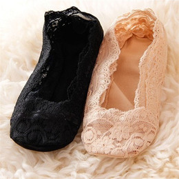 Wholesale Cheap Silver Low Heels - Wholesale- 2015 Women Lace Low-cut Invisible Socks Summer Sock For Women High-heeled Shoes Mate Ballet Footies Cheap Girl Stock MST027
