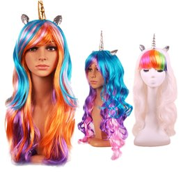 Wholesale Long Rainbow Wigs - Halloween Christmas Decoration Colorful Long Curly Wig Masquerade Anime Cosplay Rainbow Gothic Fake Hair Wig Party Supplies