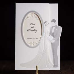 Wholesale Gray Invitations - Wholesale-100 Pcs Lot, Classic White Shiny Gray Lovers Wedding Invitations Cards with Envelopes and Seals, Free Printing