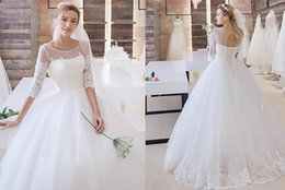 Wholesale Scalloped Lace Neckline Dress - Plus Size 2016 Princess Lace Ball Gown Wedding Dresses Cheap Illusion Neckline Sweep Train Tulle Wedding Dress with Applique Wedding Gowns