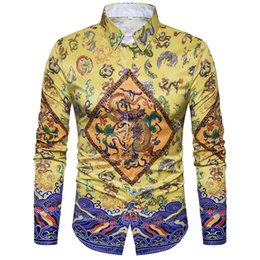 Wholesale Satin Chinese Style Dress - 2017 Luxury Fashion Men's Shirt Chinese Style Men's 3D Floral Retro Long Sleeve Shirts Casual Dress Shirts