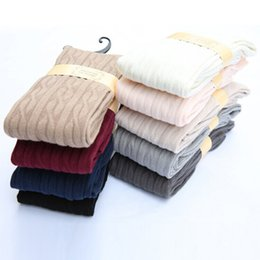 Wholesale Hose Women - Wholesale-New Woman Wool Braid Over Knee Socks Thigh Highs Hose Stockings Twist Warm Winter