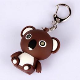 Wholesale Bears Sounds - Keychain Koala bear key chain sound light LED flashlight car key ring holder diy bag pendant chaveiro llaveros porte clef BS058