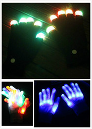 Wholesale Free Running Flash - LED Flash Gloves Halloween Christmas Party Ghost Dance Black Bar Stage Performance colorful Rave Light Finger Lighting Gloves Glow JC47