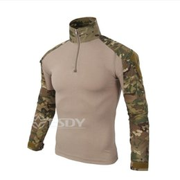 Wholesale Green Camouflage Shirt - 2017 Fashion Male Camouflage T-shirts Army Combat Tactical T Shirt Military Men Long Sleeve T-Shirt Hunt T-shirts