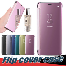 Wholesale Clear Flip Cover - For Samsung Galaxy S9 S8 Plus Flip Cover Case Dormant Mirror Clear View Cases For Iphone7 Plus Samsung S7 Edge With Retail Box