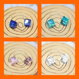 Wholesale Wedding Crystal Stones Wholesale - Fashion New Square Crystal Stud Earrings With Stones For Women Rhinestone Earing Girls Wedding Jewelry Gift Female Brinco Bijoux