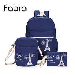 Wholesale Cute Laptop Backpacks - Wholesale- 3 Pcs Set Fabra Preppy Style Print Canvas Women Backpacks School Book Bag For Teenager Fashion Cute Laptop Shoulder Bag