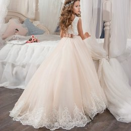 Wholesale White Lace Wrap For Girl - Flower Girls Dresses For Weddings Champagne Tulle Appliques Tea Length A Line Girls Pageant Gowns Zipper Back Customized Kids Party Dress