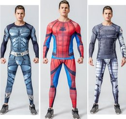 Wholesale Compression Tights Skin - Mens Compression Shirts Bodybuilding Skin Tight Long Sleeves Jerseys Clothings MMA Crossfit Exercise Workout Fitness SportswearMen Compressi