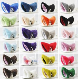 Wholesale Hair Accessories Carnival - Party's Cat Fox Long Fur Ears Anime Costume Hair Clip Cosplay Ears 21 Colors