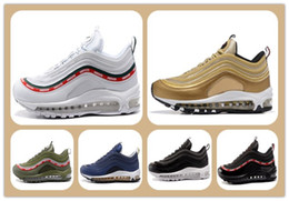 Wholesale Men Max Running - Cheap Running Shoes Max 97 OG Metallic Gold Silver Bullet Running Shoes with Box Men trainers Women Sneaker Free shipping sports shoes boots