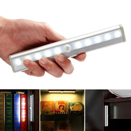 Wholesale Lighting For Stairs - Led Light Wireless Motion Sensor 10LED Night Light Wall Light White Hot Lamp Powered By Battery For Stairs Bedroom Cabinet Cupboard