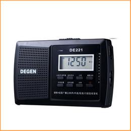 Canada Vente en gros-DEGEN DE221 Radio FM Stéréo FM1-2 / MW / SW1-8 Radio portable DSP Radio 11 bandes Multiband Portable Campus Noir Livraison gratuite cheap radio 11 Offre