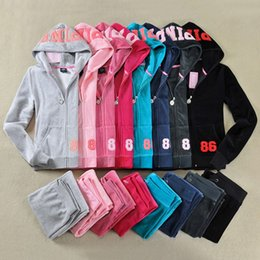 Wholesale Velvet Sportswear - Pink Letters Women Velvet Suits 2017 Spring Autumn 2Piece Sets Hoodie Hooded Sweatshirt + Long Pants Tracksuits Sportswear