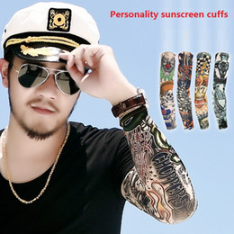 Wholesale Tattoo Stripes Arm - 108 Styles Tattoo cuffs Flower arm cuff Tattoo breathable sunscreen cuff Stockings Art Tattoo Stripe Sleeve Anti UV Unisex M732