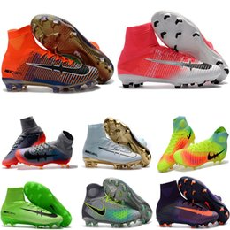 Wholesale High Boots For Kids - Newest kids soccer shoes for boys mercurial superfly fg cr7 sock boots football womens mens high tops ronaldo ankle indoor soccer cleats