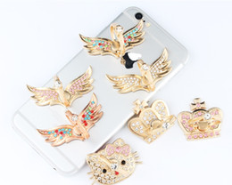 Wholesale Colorful Crown Rings - 2017 new style Mobile rings, brackets, band drills, rings, buttons, colorful wings, crowns, cell phones, brackets, rings, buckles, brackets