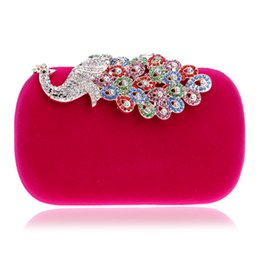 Wholesale Peacock Candy - Wholesale- Candy Color Women Messenger Bags Chain Shoulder Metal Peacock Colorful Rhinestones Bags For Wedding Party Handbags