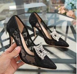 Wholesale Lace Wedding Dress Princess Cut - Hot Dating Dress Black Sexy Lace Shallow Pointed Toe High Heel Pumps Thin Heels Pumps Shoes Brand Party Princess Shoes